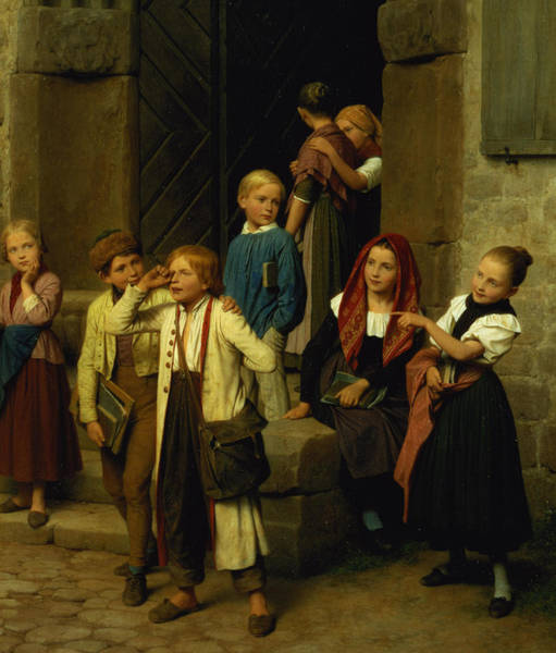 Watching Painting - Schoolchildren Watching A Boy Cry by Friedrich Edouard Meyerheim