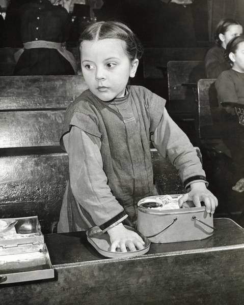 Desk Photograph - Schoolgirl With Lunchbox by George Karger