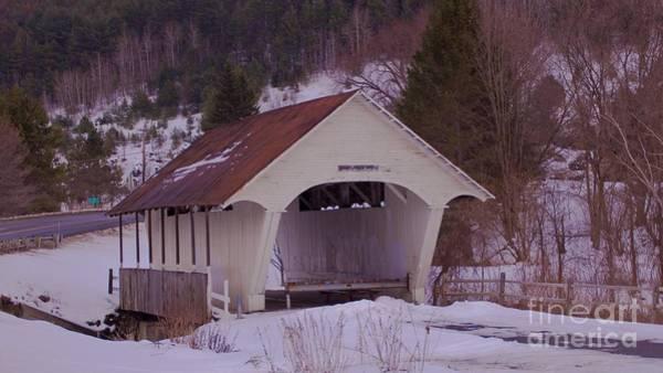 Schoolhouse Covered Bridge. Art Print