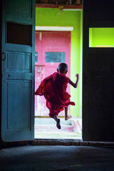Occupation Photograph - Schools Out - Young Monk Heading Out To by Kirklandphotos