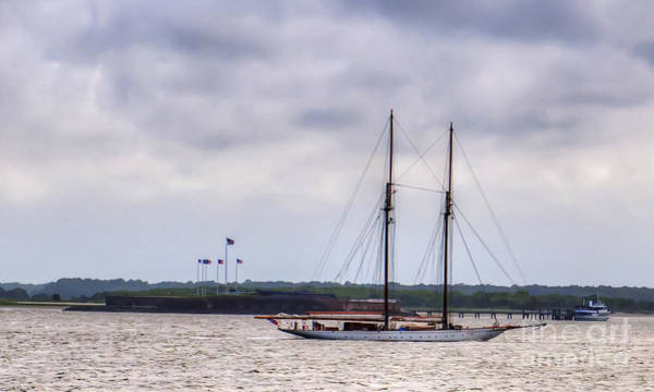 Photograph - Schooner Sailing Past Fort Sumter by Dale Powell