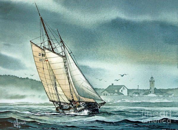 Port Townsend Painting - Schooner Voyager by James Williamson