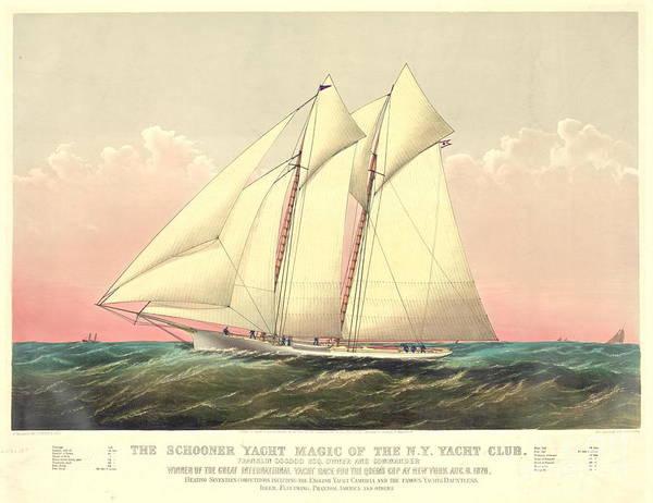 Racing Yacht Photograph - Schooner Yacht Magic 1870 by Padre Art