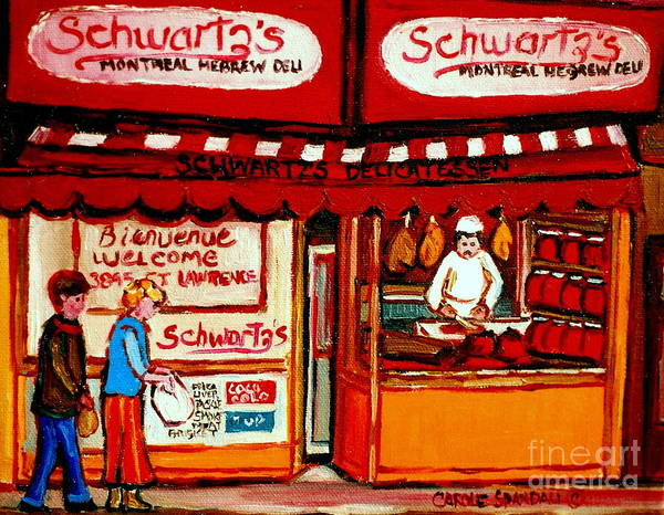 Painting - Schwartz's  Deli  Montreal Landmarks by Carole Spandau
