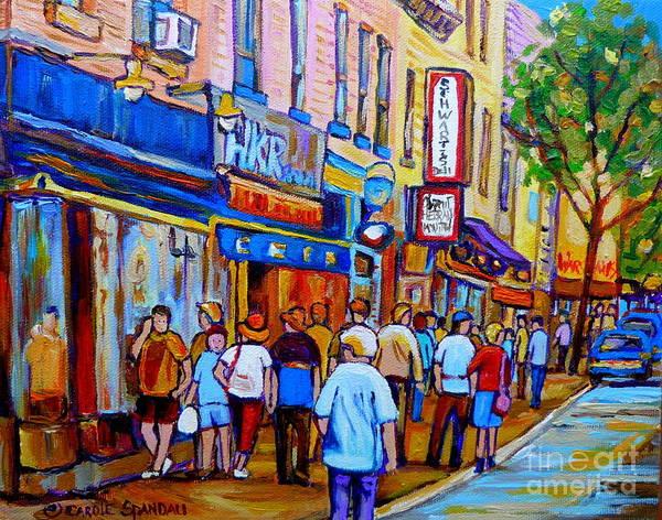 Painting - Schwartzs Hebrew Deli Montreal Urban Scene by Carole Spandau