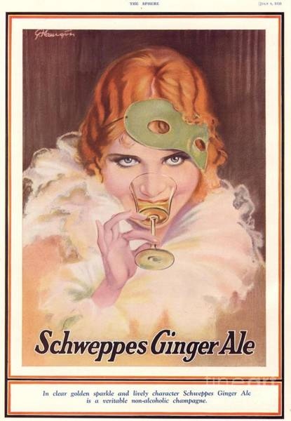 Nineteen-thirties Wall Art - Drawing - Schweppes 1930s Uk  Ginger Ale Art Deco by The Advertising Archives
