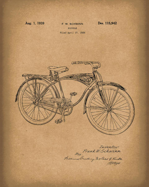Drawing - Schwinn Bicycle 1939 Patent Art Brown by Prior Art Design