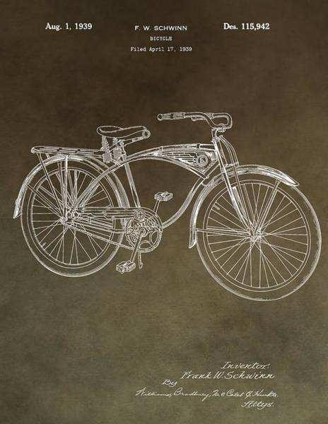 Mixed Media - Schwinn Bicycle Patent by Dan Sproul