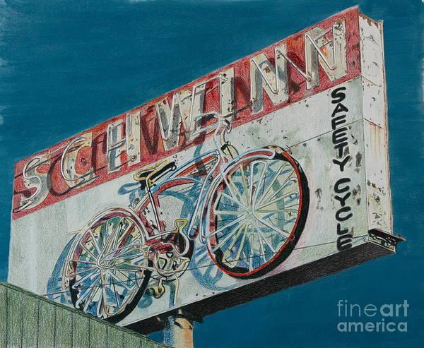 Neon Drawing - Schwinn Safety Cycle by Glenda Zuckerman