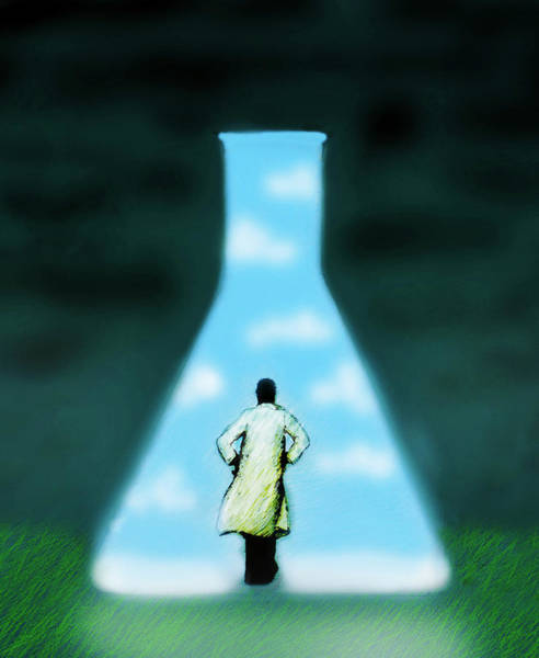 Clear Coat Wall Art - Photograph - Scientist Looking At Large Conical by Ikon Ikon Images
