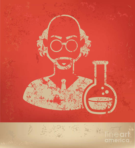 Wall Art - Digital Art - Scientist On Red Background,poster by Mamanamsai