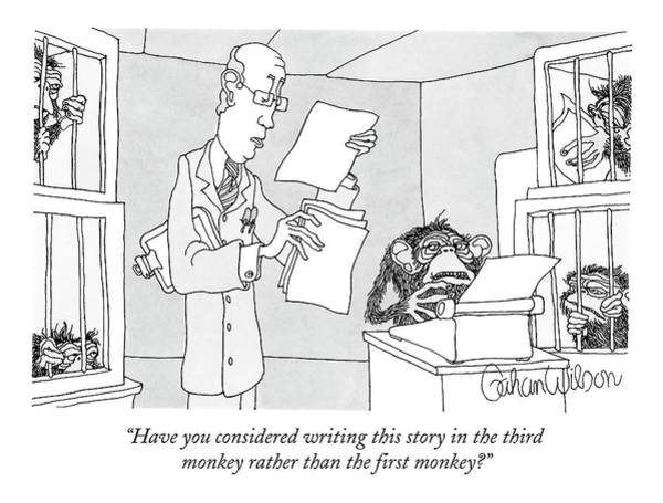 Science Drawing - Scientist Talking To Monkey At Typewriter by Gahan Wilson