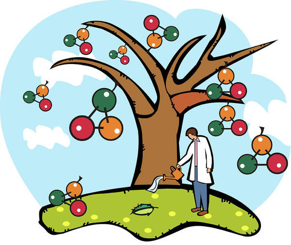 Scientist Watering An Atomic Structure Tree Art Print by Fanatic Studio / Science Photo Library