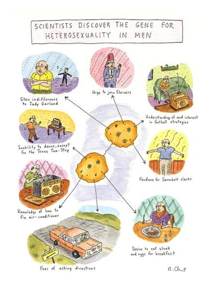 Indifference Drawing - Scientists Discover The Gene For Heterosexuality by Roz Chast