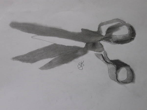 Drawing - Scissors by AJ Brown