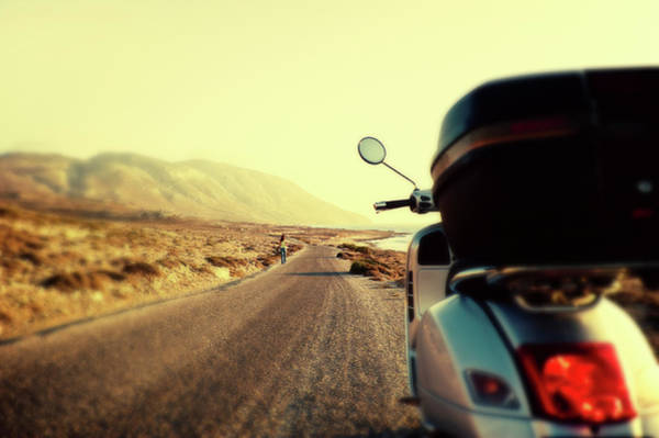 Dodecanese Photograph - Scooter On A Country Road During Sunset by Antonis Liokouras