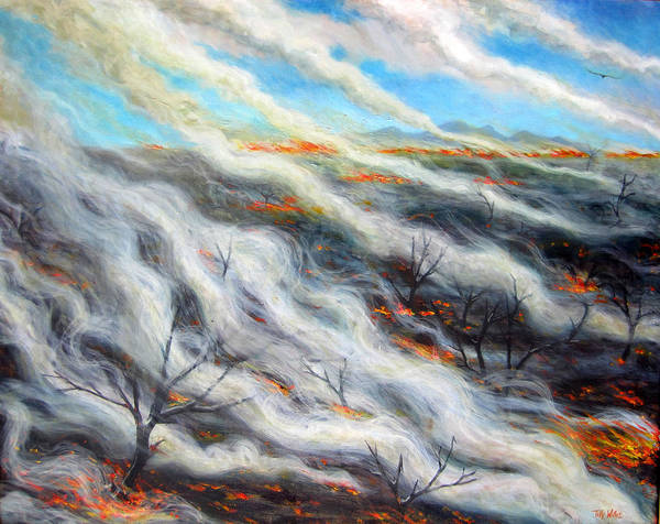 Char Wall Art - Photograph - Scorched Earth, 2014, Oil On Canvas by Tilly Willis