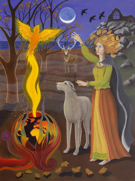 Celtic Mythology Wall Art - Painting - Scorpio / Morrigan by Karen MacKenzie