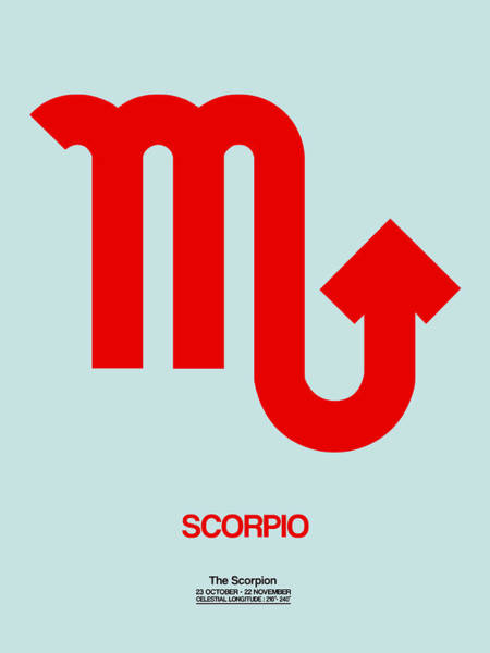 Taurus Digital Art - Scorpio Zodiac Sign Red by Naxart Studio
