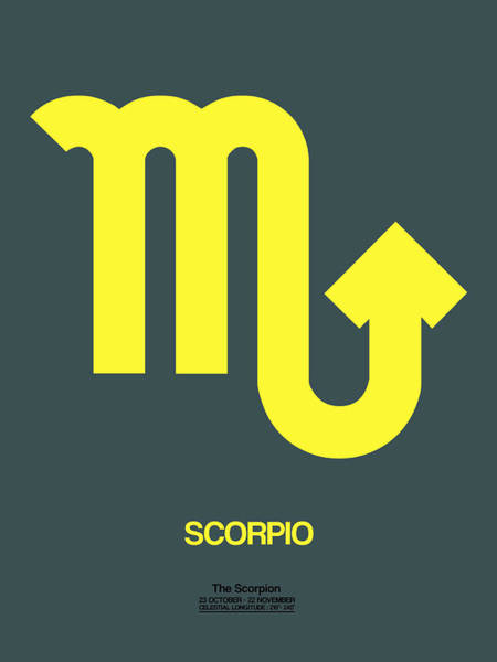 Taurus Digital Art - Scorpio Zodiac Sign Yellow by Naxart Studio
