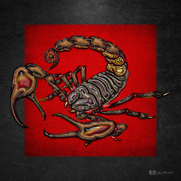 Digital Art - Scorpion On Red And Black Leather by Serge Averbukh