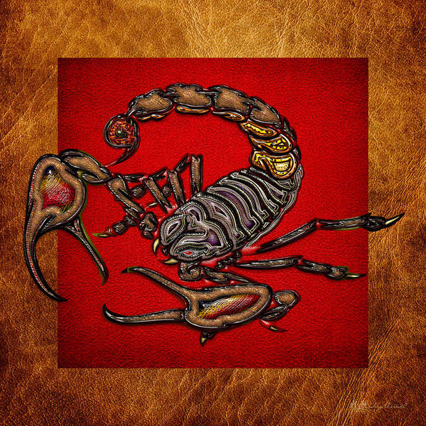 Digital Art - Scorpion On Red And Brown Leather by Serge Averbukh
