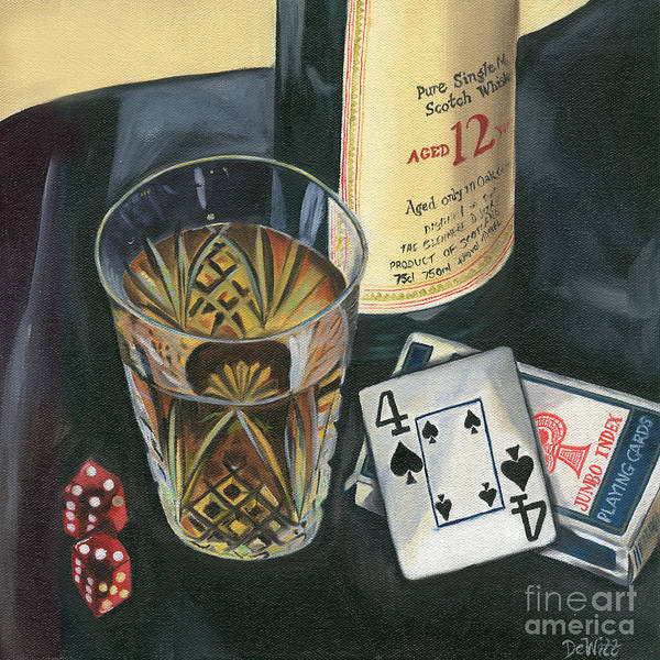Card Painting - Scotch And Cigars 2 by Debbie DeWitt