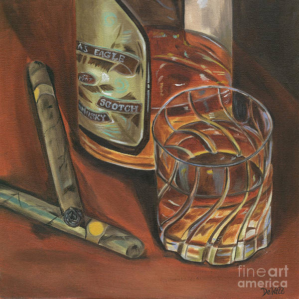 Scotch Wall Art - Painting - Scotch And Cigars 3 by Debbie DeWitt