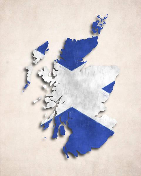 Wall Art - Digital Art - Scotland Map Art With Flag Design by World Art Prints And Designs