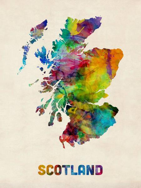 A Digital Art - Scotland Watercolor Map by Michael Tompsett