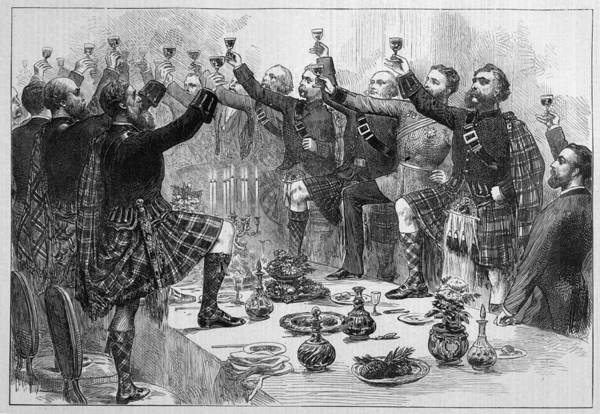 Wall Art - Drawing - Scotsmen Drink The Health  Of The Duke by  Illustrated London News Ltd/Mar