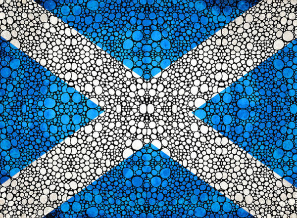 Wall Art - Painting - Scottish Flag - Stone Rock'd Scotland Art By Sharon Cummings by Sharon Cummings