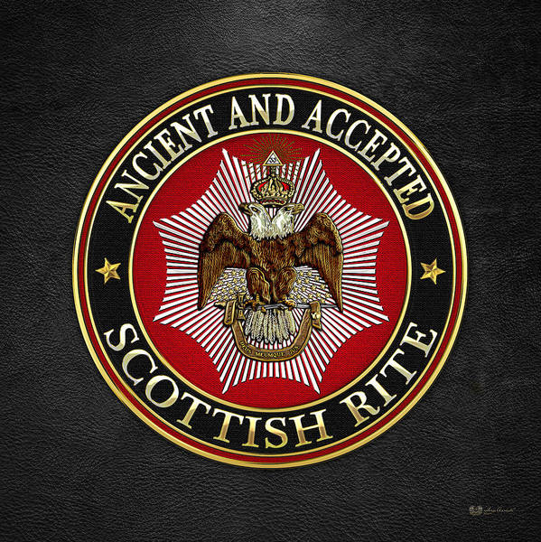 Digital Art - Scottish Rite Double-headed Eagle On Black Leather by Serge Averbukh