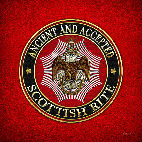 Digital Art - Scottish Rite Double-headed Eagle On Red Leather by Serge Averbukh