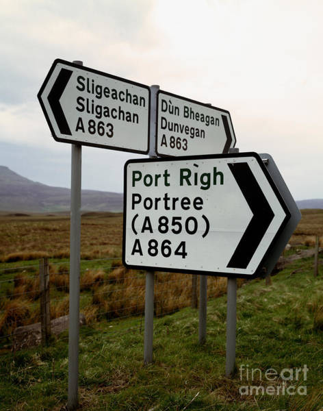 Gaelic Photograph - Scottish Roadsigns In English And Gaelic by Rafael Macia
