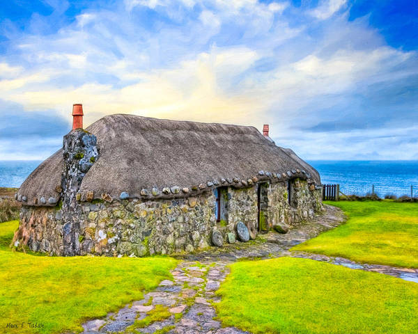 Wall Art - Photograph - Scottish Thatched Cottage On Skye by Mark Tisdale