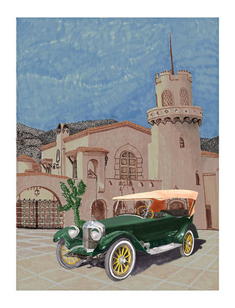 Death Valley Painting - Scottys Castle 1917 Premier Tourer by Jack Pumphrey