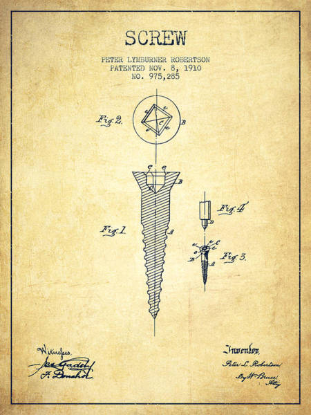 Construction Digital Art - Screw Patent Drawing From 1910 - Vintage by Aged Pixel