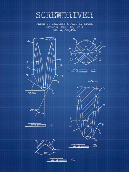 Construction Digital Art - Screwdriver Patent From 1991 - Blueprint by Aged Pixel