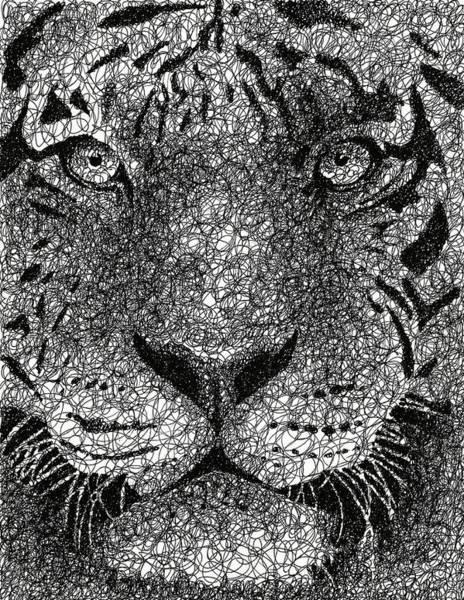 Wall Art - Drawing - Scribble Tiger by Nathan Shegrud