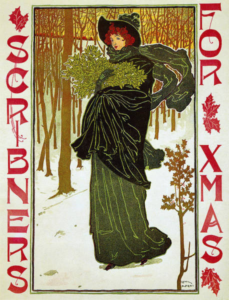 Photograph - Scribners For Christmas 1895 by Louis John Rhead