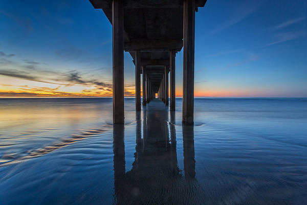 Big Sky Photograph - Scripps Pier Blue Hour by Peter Tellone