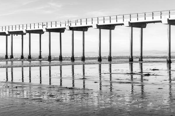 Photograph - Scripps Pier Reflections In Black And White by Priya Ghose