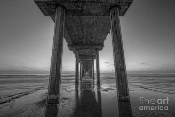 Michael Photograph - Scripps Pier Sunset Bw by Michael Ver Sprill