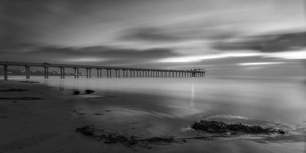 Big Sky Photograph - Scripps Pier Twilight - Black And White by Peter Tellone