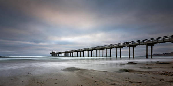 Big Sky Photograph - Scripps Pier Wide -lrg Print by Peter Tellone
