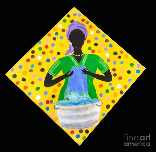 Gullah People Wall Art - Painting - Scrub-a-dub by Samantha Claar