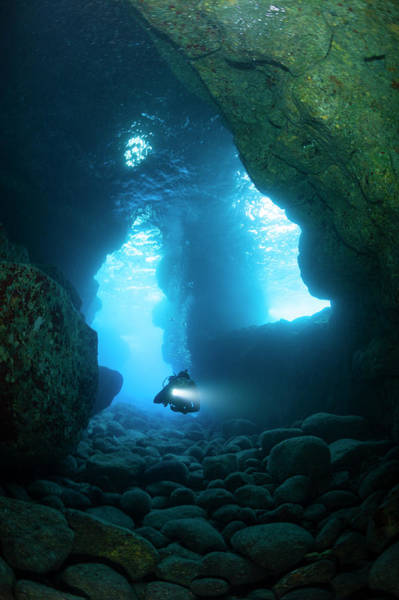 Scuba Diving Photograph - Scuba Diver In Lava Tube, Hawaii by Michele Westmorland