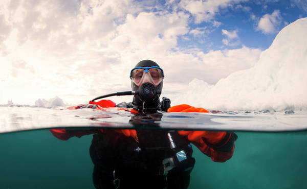 Snorkel Photograph - Scuba Diver Next To An Iceberg - Split by Justin Lewis