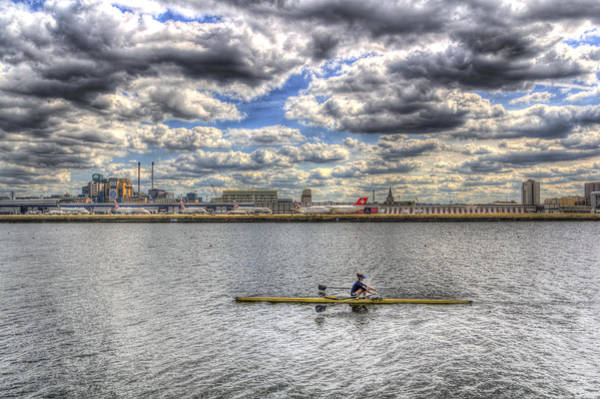 Wall Art - Photograph - Sculling At London City Airport by David Pyatt